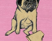 madelyn PUG piano player print 11x 15.25. Backround color your choice (yellow, green, blue or pink).
