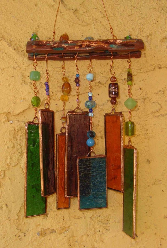 Stained glass wind chime for How to make stained glass in driftwood