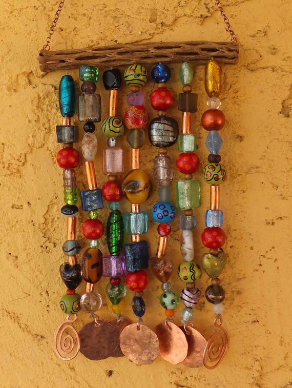 Glass Copper Wood Beaded Soho Wind Chime on Cholla, Made-to-Order