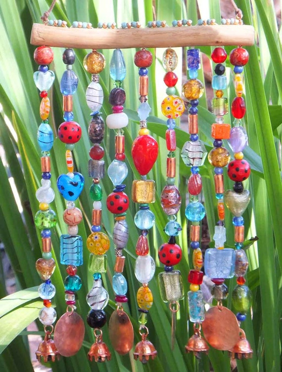 Glass Beaded Wind Chime - ( Windchime ) Sun Catcher on Mesquite with Bells and Hammered Copper -- Bohemian
