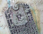Always Definition, Reclaimed Fine Silver ID Tag with Custom Letter Monogram Necklace, Militray Jewelry Dog Tag Pendant