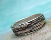 Outdoor Lovers Gift, Nature Lovers Gift, Gardeners Gift, Gardeners Jewelry GIft, Gifts for Gardeners, Gardeners Rings Silver Tree Bark Ring