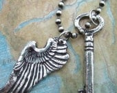 Rustic Jewelry, Rustic Necklace, Sterling Silver Rustic Jewelry, Jewelry with Rustic Look, Handmade Rustic Jewelry, Angel Wing Necklace Key