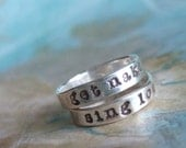 Get Naked, Sing Loud, Silver Stacking Rings, Tall Paul Inspired Pair, Custom Sizes 4 5 6 7 8 9 10 11 12 13 14 15 Whole and Half