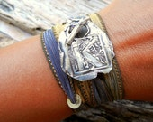 Monogram Bracelet, Initial Jewelry, Letter Bracelet, Silk Ribbon Wrap Bracelet A B C D E F G H I J K L M N O P Q R S T U V X Y Z, Pick Color
