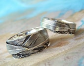 Feather Wedding Rings, Eco Friendly Jewelry, Recycled Silver His and Hers Matching Bands, Custom Size 4 5 6 7 8 9 10 11 12 13 14 15