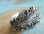 Peacock Jewelry, Peacock Feather Jewelry, Silver Peacock Feather Ring, Lucky Peacock Feather Ring, Any Size 4 5 6 7 8 9 10 11 12 13 14 15