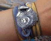 Boho Jewelry, Boho Bracelet, Bohemian Fashion, Hippie Jewelry, Silk Wrap Bracelet, Boho Jewelry Bracelet, Sterling Silver BOHO CHIC Jewelry