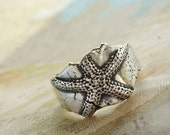 Beach Jewelry, Beach Ring, Sterling Silver Starfish
