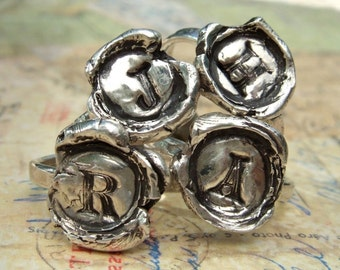 Wax Seal Monogram Ring in Recycled Fine Silver, Capital Letter A B C D E F G H I J K L M N O P Q R S T U V W X Y Z, Eco Friendly