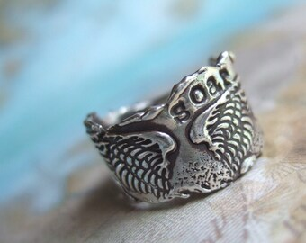 Angel Wings Ring in Recycled Fine Silver, Rustic Eco Friendly Gift for Her, Soar, Silver Rustic RIng Size 4 5 6 7 8 9 10 11 12 13 14 15 SOAR