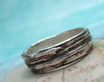 Silver Bark Ring, Faux Bois Jewelry, Fine Silver, An Eco Friendly Gift, Wood Grain Pattern Ring, 4 5 6 7 8 9 10 11 12 13 14 15 Custom Size