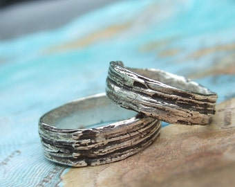 Custom Wedding Rings, Personalized Wedding Jewelry, His and Her Matching Bands, Eco Friendly, Bark Wood Grain, 4 5 6 7 8 9 10 11 12 13 14 15