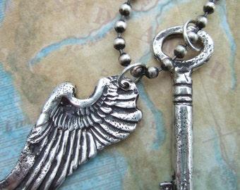 Guardian Angel Jewelry, Vintage Skeleton Key Necklace, Best Friend Jewelry, Friendship Jewelry, Friendship Necklace, Guardian Angel Necklace