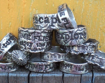 Wedding Rings, Personalized Silver Ring, Silver Jewelry, Custom Quote Fine Silver Ring, Whole and Half Sizes 4 5 6 7 8 9 10 11 12 13 14 15