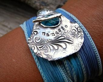 Yoga Jewelry Namaste, Yoga Jewelry, Yoga Silk Ribbon Wrap Bracelet, Meditation Jewelry, Yoga Bracelet, Silver Yoga Jewelry, Namaste Bracelet