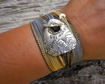 Eco Friendly Jewelry, Meditation Wrap Bracelet, Hand Dyed Silk Ribbon Bracelet, Inspirational Word Jewelry, Ginkgo Biloba Leaf, Silver