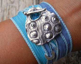 Beach Jewelry, Sea Urchin Wrap Bracelet, Hand Dyed Silk Ribbon, Eco Friendly Gift for Her, Artisan Recycled Silver Toggle Clasp, Turquoise