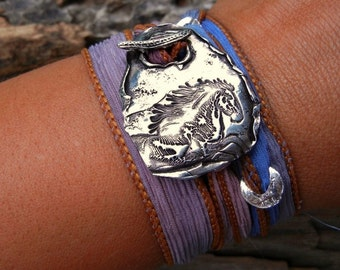Horse Jewelry, Horse Bracelet, Equestrian Jewelry, Pony Jewelry, Pony Silk Wrap Bracelet, Horse Silk Wrap Bracelet, Silver Horse Bracelet