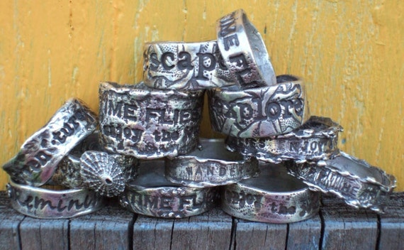 A Pair of His and Hers Personalized Custom Solid Silver Rings, Any Size, Any Quote
