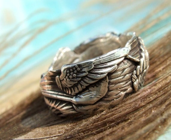 Gathered Wings, Custom Size Ring in Oxidized Fine Silver with Initials