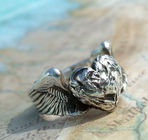 Victorious Heart Ring, in Recycled Solid Silver, Any Size