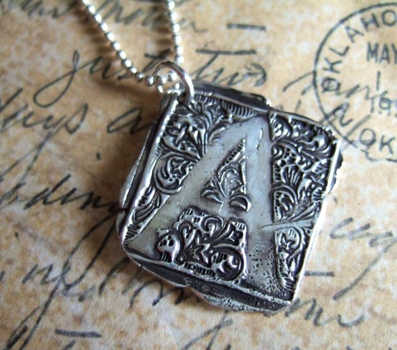 Silver Monogram Necklace, Eco Friendly Jewelry, Wax Seal Stamped Pendant, Custom Ornate Letter in Eco Chic Recycled Fine Silver, Vintage