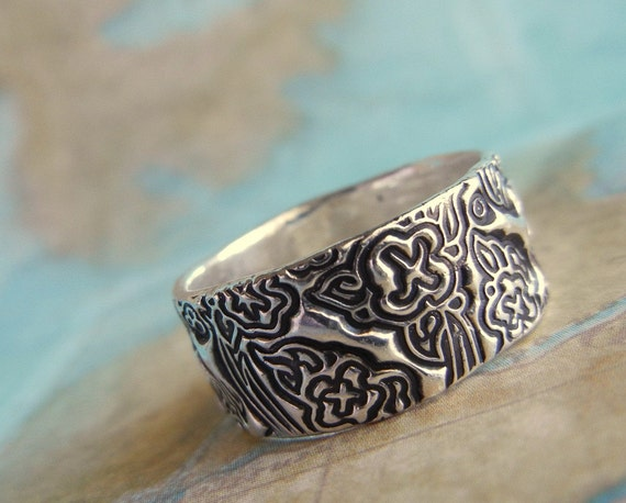 Wedding Rings, Eco Friendly Recycled Silver Jewelry, Tooled Leather Floral Design, Fine Silver, Custom Size 4 5 6 7 8 9 10 11 12 13 14 15