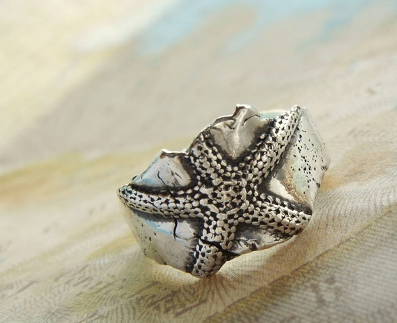 Starfish Silver Ring, Nautical Jewelry, Sterling Silver Ring, Sterling Silver Beach Jewelry, Beach Lovers Gift Size 4 5 6 7 8 9 10 11 12