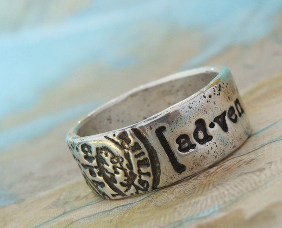 Recycled Silver Ring, Eco Friendly Jewelry, Postmark Stamped Jewelry, World Map Traveler Ring, Fine Silver, Sizes 4 5 6 7 8 9 10 11 12 13 14