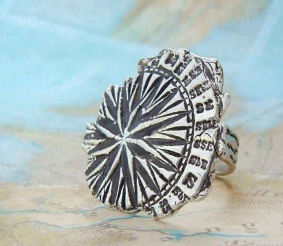 Compass Ring, Fine Silver Nautical Jewelry, Explorer Ring, World Traveler Gift, Organic Jewelry, Sizes 4 5 6 7 8 9 10 11 12 13 14