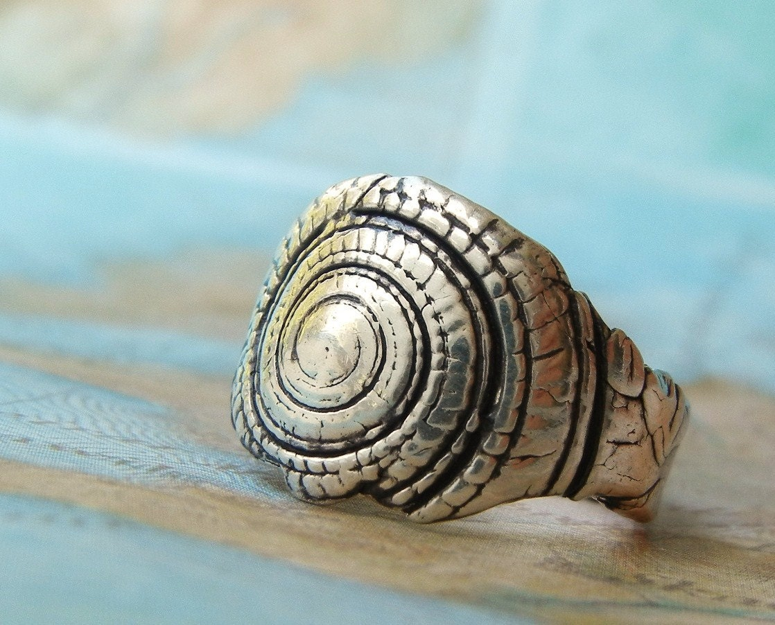 silver shell ring nautical jewelry seashell ring shell