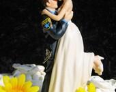 Police Officer COP law enforcement Gun Wedding Cake Topper  sexy pose Bride uniform Kiss Lift Your PATCH