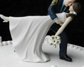 Police Officer cop groom uniform Wedding Cake Topper Dance Bride Gun classic YOUR PATCH