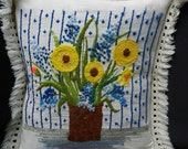 Vintage Flower Vase embroidered fringed pillow home decor 70s