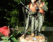 Deer Hunter Hunting Camo wedding cake topper figures groom carrying gun redneck outdoor