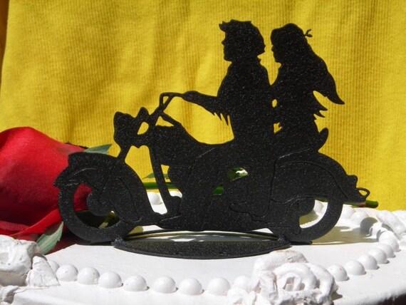 Motorcycle Biker Wedding Cake Topper Motorcyclist By
