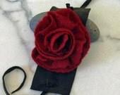 Felted rose corsage bracelet