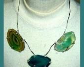 Ocean Agate Geodes on Vintage Silver Links