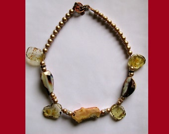 Sale --  Agate and Amber Necklace