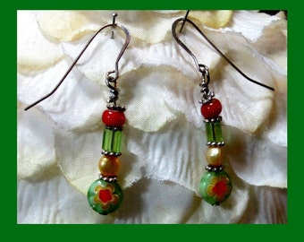 Green and Red Millefiori Earrings