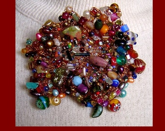 Crocheted Copper Wire Brooch with Gemstones-GreeneArts