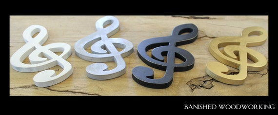 Wooden Treble Clef Wall Hanging