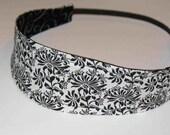 REVERSIBLE - Black and White Flowers With Swirls Fabric Headband