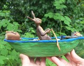 Rabbit in Boat, Mixed Media