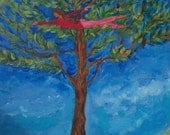 """Original Painting, """"Swimming Through the Treetops"""",  (Based on the Artist's poem """"The Eyes of May"""")"""