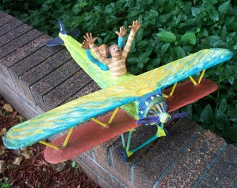"""Airplane Folk Sculpture, """"Ciero and Bella and their Flying Machine"""""""