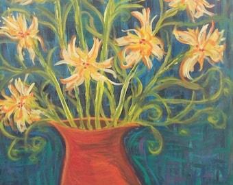 """Modern Impressionist Daffodils Print on canvas, 11"""" x 14"""""""