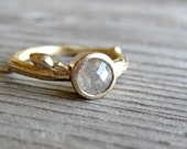 White Rose Cut Diamond Twig Ring in Yellow Gold