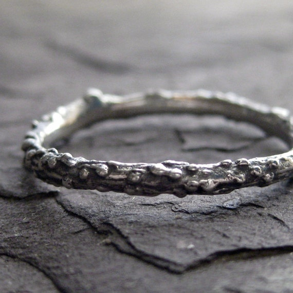 Stackable Twig Band in Recycled Sterling Silver